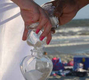 Myrtle Beach Sand Ceremony with Heart Shaped Jars. Photograph by Alicia Marie